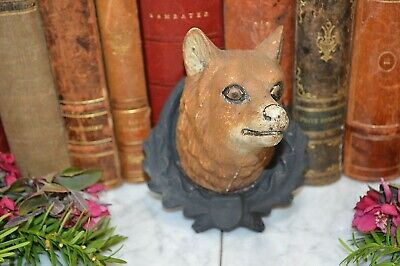 Rare Antique German Black Forest Fox Wolf Head Mounted on Carved Wood Shield