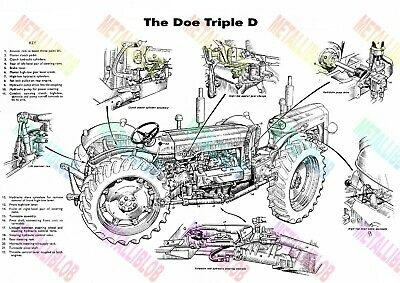 Doe Triple Cutaway Fordson Tractor Poster - A3 - (3 for 2 offer)