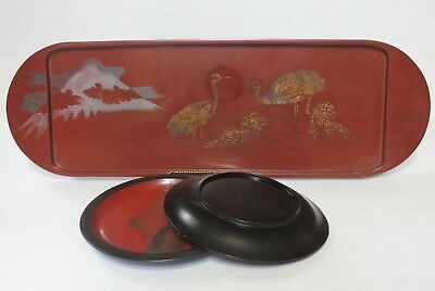 Antique Japanese Lacquer Tray & Two Dishes