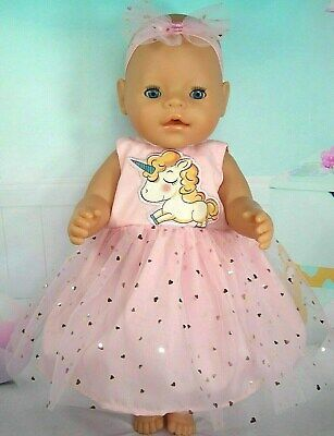 """Dolls clothes for 17"""" Baby Born/Cabbage Patch doll~PINK UNICORN/PINK HEART DRESS"""