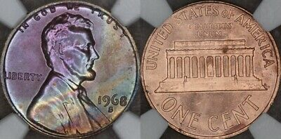 1968 S Lincoln Memorial Cent Ngc Certified Ms65 Rb Monster Toning Rare Toned