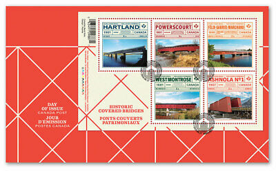 CANADA 2019 Historic Covered Bridges: Souvenir Sheet Official First Day Cover