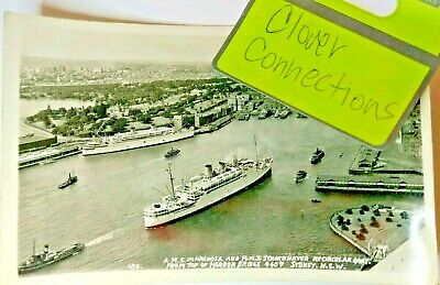 RPPC Photo Postcard RMS SS Mariposa & Strathnaver WW2 Sydney 1940s Ocean Liner