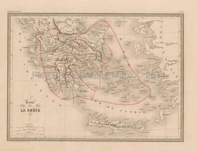 Greece Antique Map Malte Brun 1850 Original