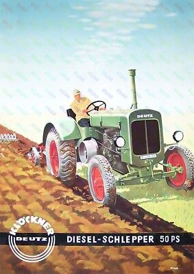 Deutz 50 PS Vintage Tractor  - Brochure Inspired Poster (A3) - (3 for 2 offer)
