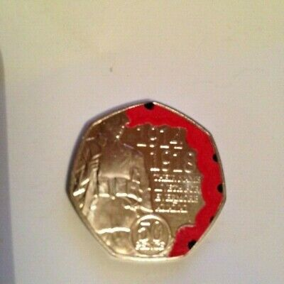 Uncirculated 2018 Isle Of Man Coloured 50P Coin Remembrance Day Poppy In Capsule