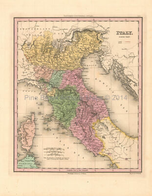 Northern Italy Antique Map Tanner 1836 Original