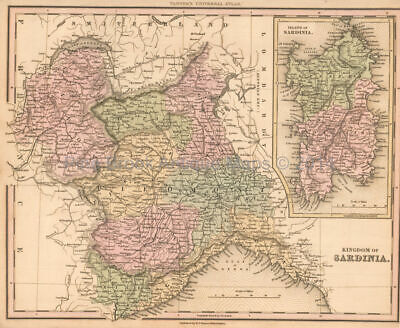 Sardinia Antique Map Tanner 1836 Original