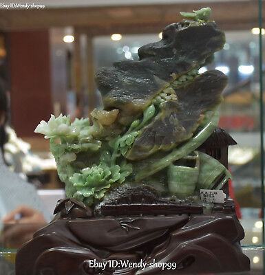 """11"""" China Natural Dushan Jade Carved Peony Flower Magpie Bird Tree Leaf Statue"""