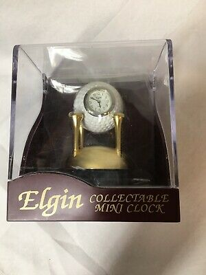 Vintage Elgin Collectible Mini Clock Golf Ball On Tee New! Great Gift For Golfer
