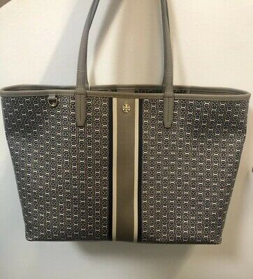 a4b643ac7 New Tory Burch Gemini Link Stripe Large Tote French Grey Authentic!!! $258
