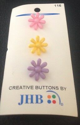 """3 Vintage 5/8"""" JHB Realistic Novelty Figural Plastic Colorful Flower Buttons"""
