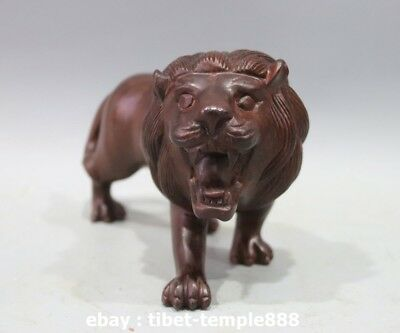 9.5 China Art Deco Red Wood Handwork Carving Fengshui Animal Male Lion sculpture