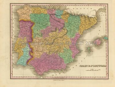 Spain and Portugal Antique Map Finley 1833 Original