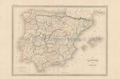 Spain Portugal Antique Map Malte Brun 1850 Original