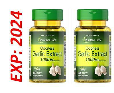 Garlic Extract Odorless 1000mg Cholesterol Health 200 Antioxidant Pills USA Made