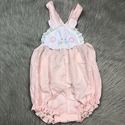 Vintage Baby Girls Pink White Floral Bunny Ruffle Lace Romper Sunsuit Easter