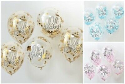 5 CONFETTI BALLOONS - Pink/Blue/Gold Decorations BABY SHOWER Ginger Ray