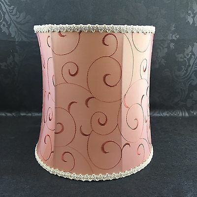 "Vintage 10"" Pink Embroidered Tapered Skirt Table Lamp Shade Lampshade"