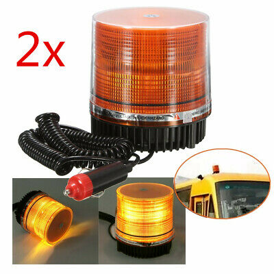 2x AMBER LED BEACON STROBE LIGHT EMERGENCY FLASHING WARNING TRUCK LAMP Magnetic