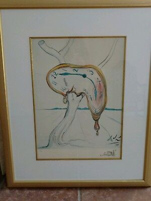 SALVADOR DALI offset lithograph TEARFUL WATCH Expensive beautiful frame