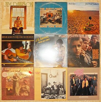 Country Rock, 9 Vinyl Record Lot, All LP, 8 US 1st Press 2 Promo