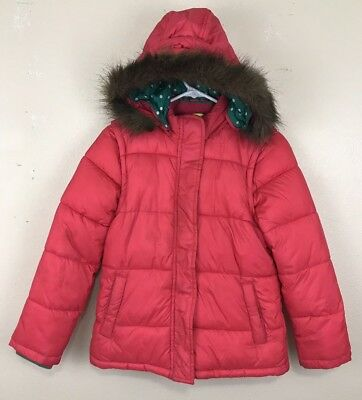 Mini Boden Girls Jacket Size 11 - 12 with Faux Fur Trim Hood Hoodie
