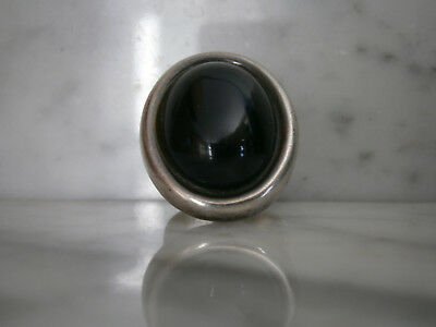 QUINN Ring 925 Silber m.Onyx,19 g. massiv, variable Ringgröße Punze FS Scheurle