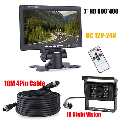 """Wired IR Night Vision Backup Rear View Camera +7"""" HD Monitor for RV Bus Truck"""