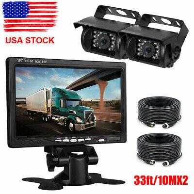 "7""Quad Split Screen Monitor+4PIN CCD Rear View Backup Camera*2 Truck VAN Trailer"