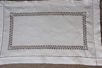 Vintage white linen table topper/cloth with drawn thread work.