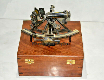 """Antique Vintage Brass 6"""" Nautical Sextant Ship Astrolabe Sextant Henry Barrow"""