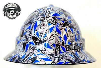 Custom Hydrographic Wide Brim Safety Hard Hats CANTERBURY BULLDOGS WIDE