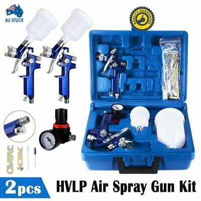 2pc HVLP Air Spray Gun Kit 1.4/0.8mm Nozzle Set Paint Touch Up Gravity Feed TOP