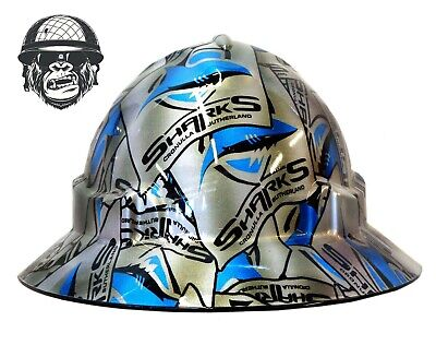 Custom Hydrographic Wide Brim Safety Hard Hats SHARKS WIDE