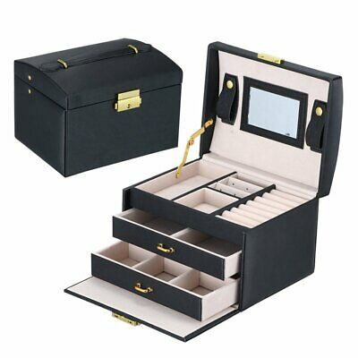 PU Leather Jewelry Storage Organizer Box 3-Layers Double Drawers Display Holder