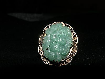 Antique Jade Ring....marked With The Word Silver
