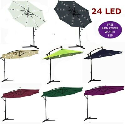 3M LED Parasol Hanging Banana Patio Garden Umbrella Cantilever Sun Shade