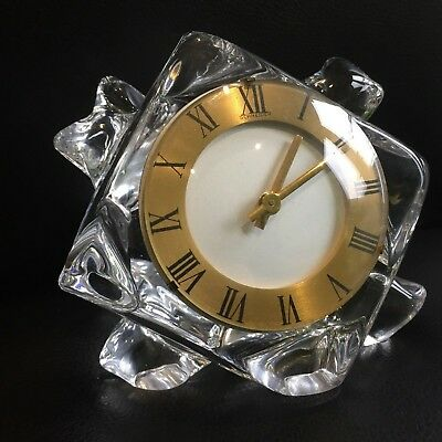 "FINE rare Vintage Antique mantle clock Schneider crystal glass ""Charles Hour"""