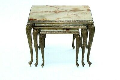 Vintage Rococo Style Italian Gilt Brass & Onyx Nest of 3 Tables [5083]