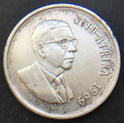 South Africa 1969 One 1 Rand Coin .800 Silver 32.7 Mm Diam Suid Afrika   Ref 251