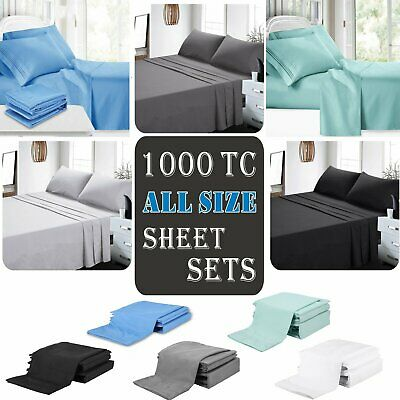 1000TC Ultra SOFT Sheet Set (4PCS FITTED SHEET SET)Single/Double/Queen/King Size