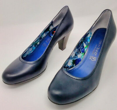 2fa7d1c4c40f Marco Tozzi Womens UK 5½ - 6 Navy Blue Antic Leather Pumps Shoes 2-22444