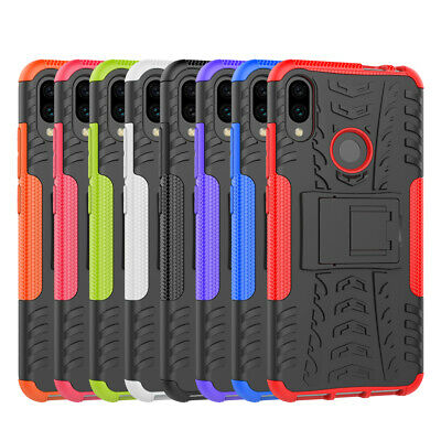 For Xiaomi Redmi Note 7 Rugged Armor Hybrid Kickstand Protective Case Cover