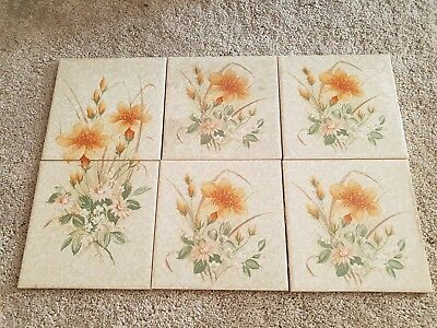 6 Ceramic Cristal Tile Inserts with Floral Pattern 6 inch squares