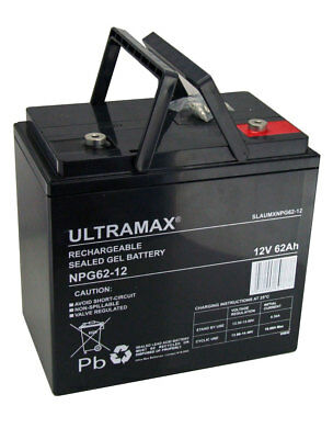 Paire - 2 X Ultramax 12v 62ah (55ah 60ah) AGM/Gel Chaise Roulante Batteries