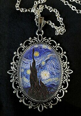 Starry Night Van Gogh Large Antique Silver Pendant Necklace Post-Impressionism