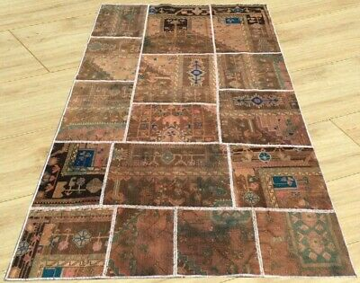 Authentic Hand Knotted Semi Antique Persian Patchwork Area Rug 5 x 7 Ft