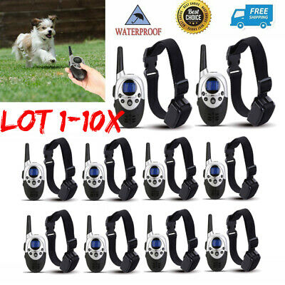 Waterproof 1000Yard Dog Shock Training Collar Pet Dog Trainer With Remote LOT BT