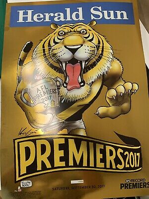 # AFL RICHMOND TIGERS GOLD FOIL PREMIERS PREMIERSHIP WEG POSTER Dustin Martin #